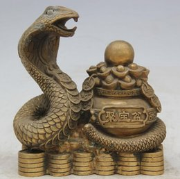 "chinese zodiac year statue UK - JP S0524 8"" Chinese Brass Folk Wealth treasure bowl Zodiac Year Snake Statue sculpture"
