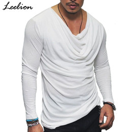 fashion men slim fit t shirt Australia - IceLion 2018 New Spring T shirt Men Fashion Fold Design Solid T-shirt Long Sleeve Hip Hop Streetwear Slim Fit Men's Tshirt Tops