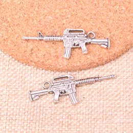 Charm making maChines online shopping - 48pcs Charms machine gun assault rifle Antique Silver Plated Pendants Fit Jewelry Making Findings Accessories mm