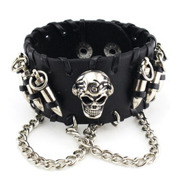 bullet leather bracelet 2021 - Reto punk accessories cowhide bracelets bullet skull chain jewe fashion in European and America suitable for people of a