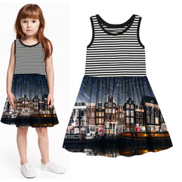 best knee balls 2019 - Children Designer Fashion baby Kids Clothes baby Girl Dresses Girl clothing dress Summer style nice best Print brand che