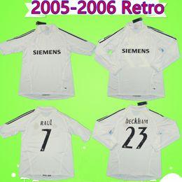 $enCountryForm.capitalKeyWord Australia - 2005 2006 Retro soccer jerseys Beckham Zidane Raul ronaldo Robinho 05 06 real madrid vintage shorts football shirts home white short sleeve