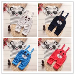 Wholesale Baby Boy Summer Clothing Set Toddle Children Boys Clothes Set Top Bib Pants Panda Printed Outfits Bebe Sport Suit