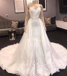White Ivory Mermaid Wedding Australia - Chic Sweetheart Mermaid Wedding Dresses 2019 Long Lace Detachable Bridal Gowns overskirt White Ivory Bridal Gown Chapel Train