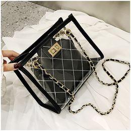 hard handbags 2019 - 2019 classic transparent designer crossbody shoulder bag Jelly package Two-piece set wallet designer luxury handbags pur