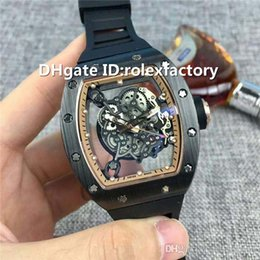 $enCountryForm.capitalKeyWord Canada - Luxury 055 Mens Watch Scratchproof Automatic Skeleton Sapphire Crystal Rose Gold Black Ceramic Case Rubber Strap transparent case back watch