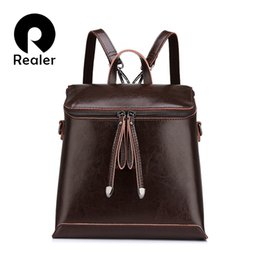 backpacks for business women Canada - Realer Brand Women Backpack Vintage Oil Wax Cow Split Leather Backpack Female School Bags For Teenagers Girls Shoulder Bag Y19061204