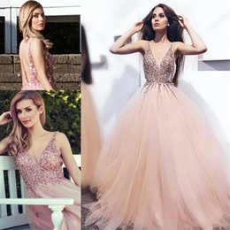$enCountryForm.capitalKeyWord Australia - Sexy Backless Long Prom Dresses Deep V Neck Beaded Appliques Tulle Formal Evening Gown Women's Cocktail Party Celebrity Dresses FreeShipping