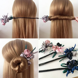 make ribbon hair accessory Australia - Women Flower Donut Bun Maker Big Pearls Ribbon DIY Hair Style Making Tools Korean Fashion Style Hair Curler Accessories