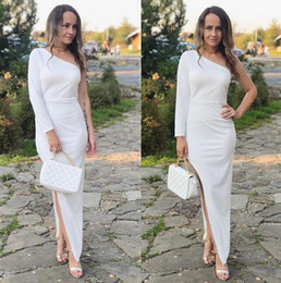 $enCountryForm.capitalKeyWord Australia - 2019 Kaftan Abaya white mermaid Formal Evening Dresses Sexy split Evening Dress one shoulder boho Prom Dresses long sleeves cheap Party Wear