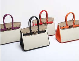 $enCountryForm.capitalKeyWord NZ - 30CM 25CM 2018 Ins New Fashion Lady Totes Handbags Two-tone women Genuine leather Bags Shoulder Bags With Lock Factory wholesale Real Image