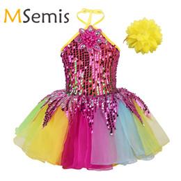Kind Mädchen Ballett Kleid für Bühnenperformance Kinder Halfter Pailletten 3D Blume Applique Bunte Tutu Ballett Kleid mit Armband Set