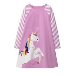 Pink chinese lanterns online shopping - Must have Girls Dress Long Sleeved Children Girls Unicorn Blue Pink Cartton Animal Embroiderd Cotton Princess Dresses