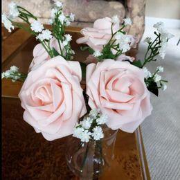 $enCountryForm.capitalKeyWord NZ - 5pcs lot 8cm Bigs Pe Foam Fake Roses Flowers Head For Wedding Home Decorations Diy Decorative Artificial Flowers Wreath White