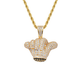 $enCountryForm.capitalKeyWord Australia - Men Iced out Gold Gesture Pendant Chain Rhinestone Rock Hand Charm Necklaces Hip Hop Jewelry Necklace for Women