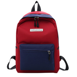 Discount backpack school tote bag - Fashion Neutral Students Nylon Color stitching Hit Color Shoulder Bag School Bag Tote Backpack High Quality Rucksack Bag