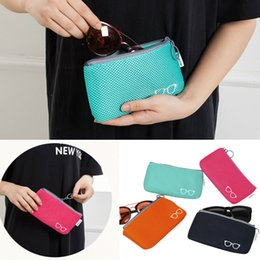 folding sunglasses wholesale Australia - Portable Glasses Case Bag Zipper Eye Glasses Sunglasses Case Pouch Storage Bags Zip Protector Fashion Soft Eyewear Accessories