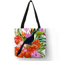 a629b8f16f Dropship Flower And Birds Flamingo Print Folding Reusable Shopping Bags  Customize Tote Bags For Women Lady Fashion Handbags