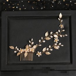 Crystal Tiara Hair Clip Australia - 23*5cm 1 Pcs Wedding Prom Bridal Bride Pearl Crystal Gold Comb Hair Accessories Party Prom Tiaras Headpiece Hair Clip Pins Handmade Jewelrys