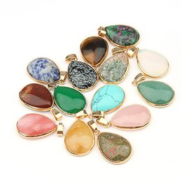 $enCountryForm.capitalKeyWord Australia - Natural Stone Pendant Water Drop Shape Pendants Agates Eye Charms for Necklaces Jewelry Making whithout chain