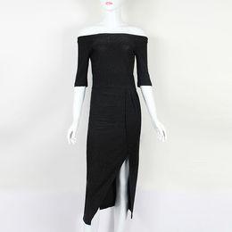 $enCountryForm.capitalKeyWord Australia - 2019 Spring Autumn Party Dress Irregular Split Slash Sexy Elegant Package Hip Midi Dress Winter Women Dress