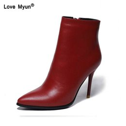 men rubber boots thigh high NZ - Sexy Fashion Boots Ankle Brand Genuine Leather Spring Autumn Thin High Heels Pointed Toe Party Wedding Shoes Women uik90
