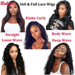 Discount human hair wig loose - Brazilian Virgin Remy Full Lace Human Hair Wigs Pre Plucked 360 Lace Front Straight Body Deep Loose Wave Curly Wig for B