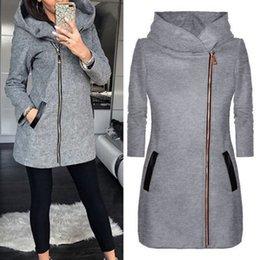 $enCountryForm.capitalKeyWord Australia - Puimentiua 2019 New Jacket Women High Collar Hooded Zipper Long Sleeve Coats Jacket Slim Women Outwear Coat Casual Hooded Hoodie