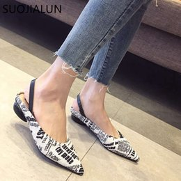 $enCountryForm.capitalKeyWord NZ - SUOJIALUN Brand Spring Womens Flat Mules Fashion Letter Printing Decoration Slip On Loafers Pointed Toe Slides Outdoor Sandal