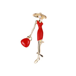 party handbags for ladies UK - New vintage Sexy Lady Brooch Red Black Enamel Pins Wear Big Hat Party Handbag Girl Fashion Jewelry Cute 3D Brooches for Women 10pcs lot