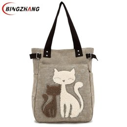 cute canvas handbags UK - Fashion Women Canvas Handbag Cute Cat Appliques Travel Shoulder Bags Causal Lady Handbags Female Shoulder Tote Bags L4-2544 J190613