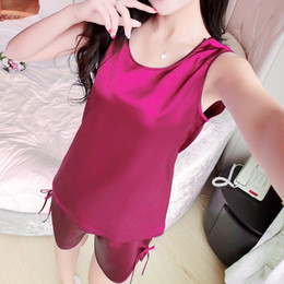 Wholesale women onesie for sale - Group buy Hot New Summer Women Pajamas Silk Soft O Neck Sleeveless Nightwear Sleepwear Women Pajama Set S XL Adult Onesie Solid Color