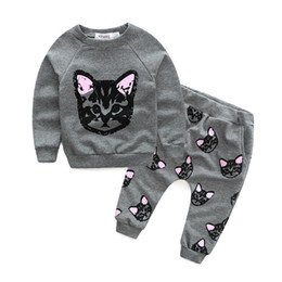 spring cat outfits Australia - Retail baby girls cat printed outfits 2pcs suit set (sports casual t-shirt+pant) kids tracksuit children boutique clothing sets