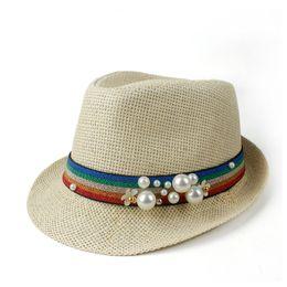 ElEgant straws online shopping - 2019 Fashion Women Straw Travel Beach Sun Hat Elegant Lady Summer Fedora pearl Panama Sunbonnet Sunhat Size CM