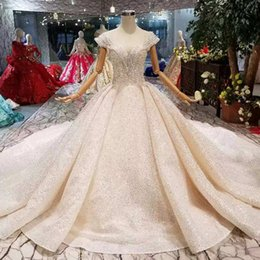 Train Works Australia - Luxury New Wedding Dresses O-Neck Crystal Cap Sleeves Ball Gown Hand Working Wedding Gowns With Long Train High Quality Saudi Arabia