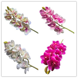 real touch orchids Canada - Real Touch Orchids Latex Cymbidium Large Size 10 Heads PU Orchid Flowers 6 Colors for Wedding Centerpieces Decorative Flower