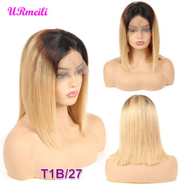 $enCountryForm.capitalKeyWord Australia - Short Bob Human Hair Wigs For Women Ombre 1B 27 Black Roots Remy Brazilian Lace Front Human Hair Wigs Plucked With Baby Hair
