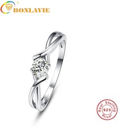 Discount engagement ring finger for female - wholesale Classic Luxury Female 100% 925 Sterling Silver Finger Ring For Elegant Women Wedding Engagement Jewelry Gift