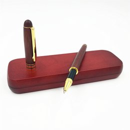 wooden stationery sets UK - Wood Rollerball Pen with Wooden Pencil Case Box Writing Office Pen Stationery Set