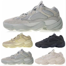 abbf1d7f3 2019 New Salt 500 Kanye West Running Shoes Men Shoes Super Moon Yellow  Blush Desert Rat 500 Sport Sneakers With Box Size 36-45