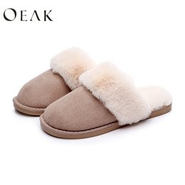 warm winter slippers women 2019 - Oeak Women Unisexs Suede Super Thick Cotton Slippers Warm Non-slip Slippers Warm Home Casual Autunm and Winter discount