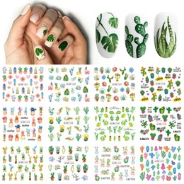 stickers heart tattoos NZ - heap Stickers & Decals 12 Designs Summer Nail Water Transfer Stickers Cactus Flamingo Heart Leaf Tattoo Decals Nail Art Decoration Slider...