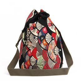 Linen String UK - Linen Lady Fashion Folk style Tread Print Drawstring Bucket handbag Houndstooth Shoulder Bags Crossbody Bags