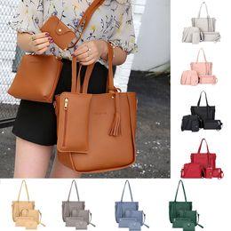 Clear totes wholesale online shopping - 4 Sets Bags For Woman Shoulder Handbag Tote Purse Leather Ladies Brand Messenger luxury handbags women designer shoulder bag