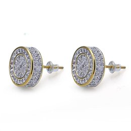 42ca9f45cd303 Stud Earrings for Men Iced out CZ Diamond Zirconia earring womens ear ring  earing Man Hip Hop hiphop Jewelry male fashion Jewellery NEW