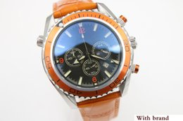$enCountryForm.capitalKeyWord Australia - Sale watch men quartz stopwatch CoAxial planet ocean chronograph function watch orange leather belts watches men dress wristwatches