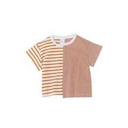 korean style girls top 2019 - 2018 Summer Fashion Korean Style Striped Patchwork T Shirt Boys And Girls Cotton Casual Tees Children Clothes Tops 1-5y