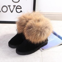 $enCountryForm.capitalKeyWord Australia - Designer's High Quality New Fashion Australian Classic Bottom Fox Fur Winter Boots True Leather Boots Female Snowfield Boots Black Cloth Pat