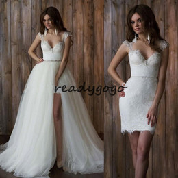$enCountryForm.capitalKeyWord NZ - Vestido De Noiva 2 Em 1 Vintage Lace Wedding Dress Sexy Backless High Low Wedding Dresses With Detachable Train Bridal Dresses