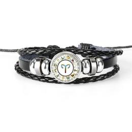 $enCountryForm.capitalKeyWord Australia - Fashion 12 Constellation Zodiac Aries Time Gem Glass Cabochon Jewelry Handmade DIY Beads Leather Rope Bracelet Boy Girl Party Christmas Gift